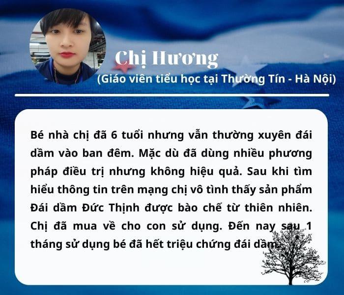 Review của chị Hương về hiệu quả của Thuốc trị Đái dầm Đức Thịnh